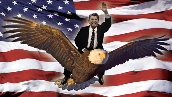 Ronald Reagan Riding an Eagle